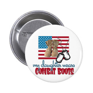 Daughter wears combat boots pinback button
