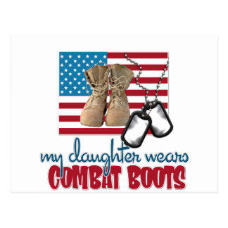 Daughter wears combat boots postcard