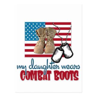 Daughter wears combat boots postcard