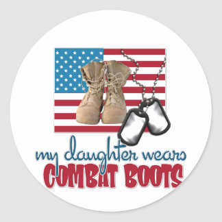 Daughter wears combat boots classic round sticker