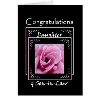 DAUGHTER Wedding Congratulations - Pink Rose Card