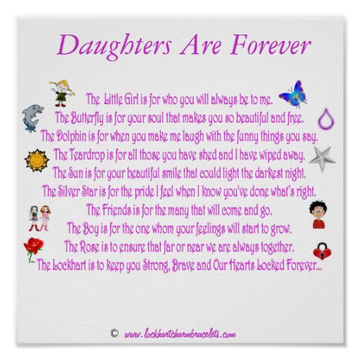 Daughters Are Forever Themed Poem with Graphics Poster
