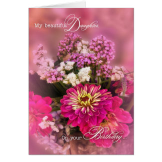 Daughter's Birthday in Soft Pink Floral Theme Card