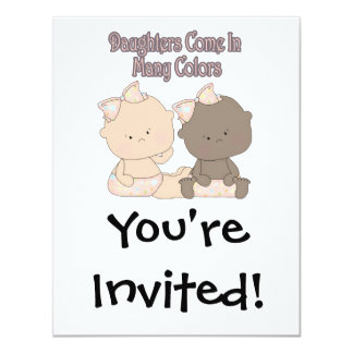 daughters come in many colors adoption design 4.25x5.5 paper invitation card