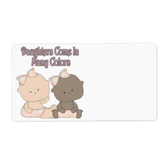 daughters come in many colors adoption design shipping label