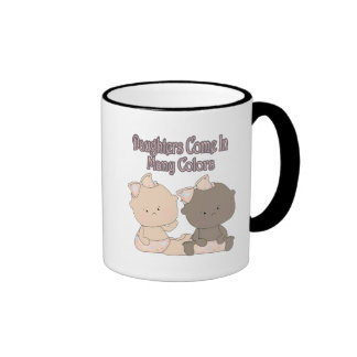 daughters come in many colors adoption design ringer coffee mug