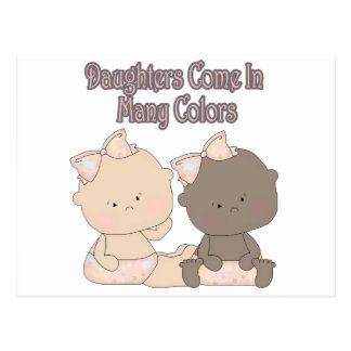 daughters come in many colors adoption design post cards