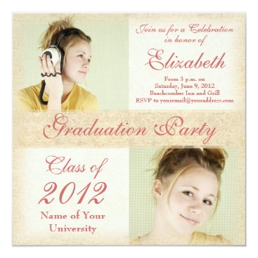 Beach Themed Daughter's Graduation Party Invitations