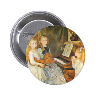 Daughters of Catulle Mendes by Pierre Renoir 2 Inch Round Button