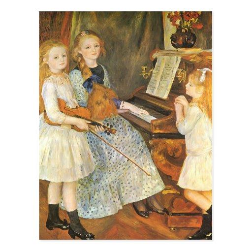 Daughters of Catulle Mendes; Renoir, Vintage Art Postcards