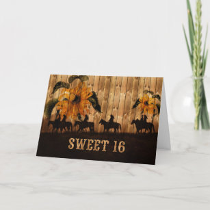 Daughters Sweet 16 Birthday Western Sunflowers Card