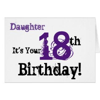 Daughte's 18th birthday greeting in black, purple. card