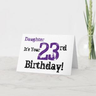 Daughtes 23rd Birthday Greeting In Black Purple Card
