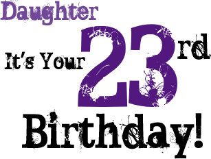 23rd birthday cards zazzle daughtes 23rd birthday greeting in black purple card m4hsunfo