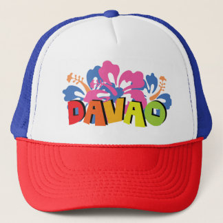 Davao Philippines on Tropical Hibiscus Flowers Trucker Hat