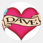 Dave - camisetas y regalos de encargo del tatuaje pegatina redonda