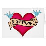 Dave - camisetas y regalos de encargo del tatuaje  tarjeton
