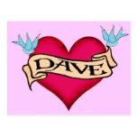 Dave - camisetas y regalos de encargo del tatuaje postal