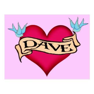 Dave - camisetas y regalos de encargo del tatuaje tarjeta postal