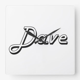 Dave Classic Retro Name Design Square Wall Clock