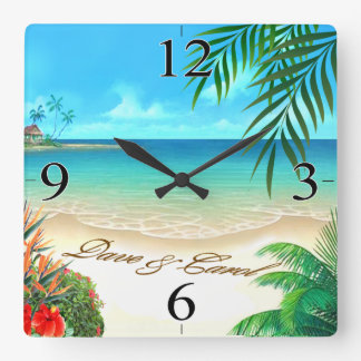 Dave Exotic Beach ASK 4 YOUR NAMES IN SAND Square Wall Clock