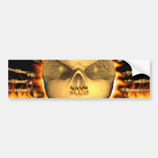 Dave skull real fire and flames bumper sticker des