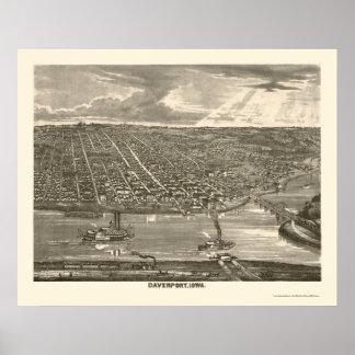 Davenport, IA Panoramic Map - 1875a Poster