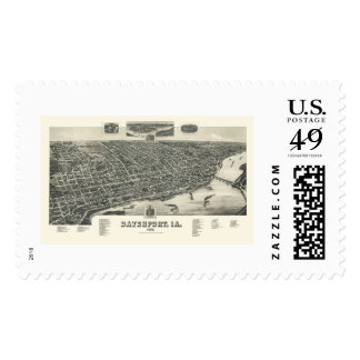 Davenport, IA Panoramic Map - 1888 Stamps