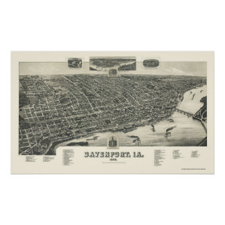 Davenport, IA Panoramic Map - 1888 Poster