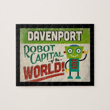 Davenport Iowa Robot - Funny Vintage Jigsaw Puzzle
