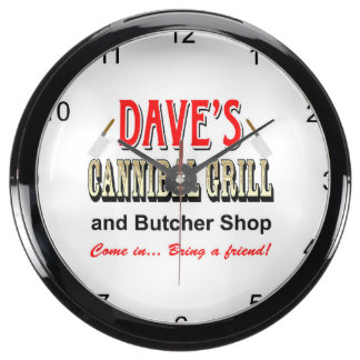 DAVE'S CANNIBAL GRILL AQUA CLOCK