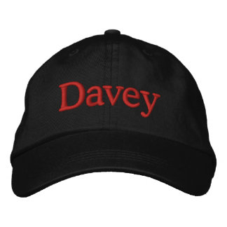 Davey Name Embroidered Baseball Cap Red Black
