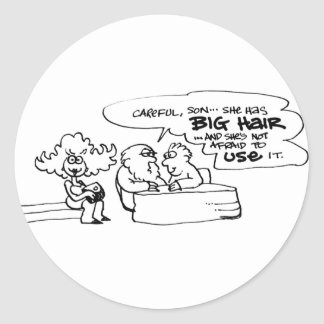 davholle big hair classic round sticker