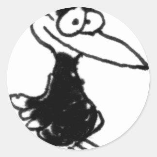 davholle black bird classic round sticker