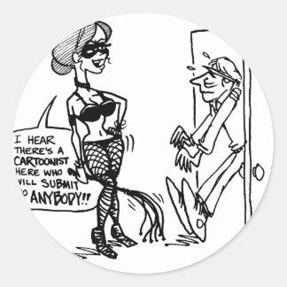 davholle cartoonist submit classic round sticker
