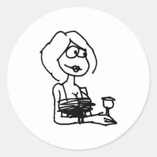 davholle girl drink classic round sticker