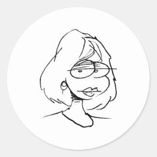 davholle girl portrait classic round sticker