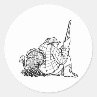 davholle hunter turkey round sticker