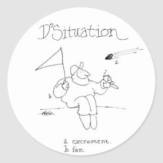 davholle situation excrement fan classic round sticker