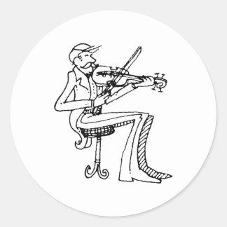 davholle violinist classic round sticker