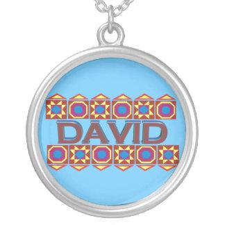 David Abstract art southwestern light blue Round Pendant Necklace