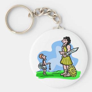David and Goliath Christian artwork Keychains