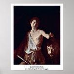 David and Goliath de Miguel Ángel DA Caravaggio Posters