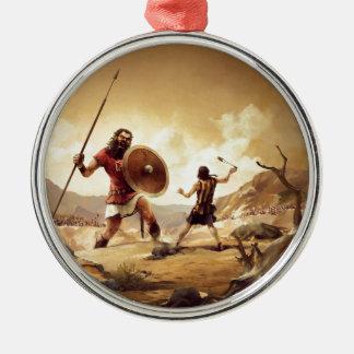 David and Goliath Metal Ornament
