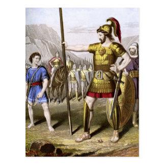 David and Goliath Postcard