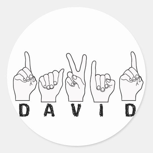 DAVID ASL FINGERSPELLED CLASSIC ROUND STICKER