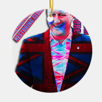 David Cameron Psychedelic Ceramic Ornament