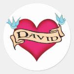 David - camisetas y regalos de encargo del tatuaje pegatina redonda
