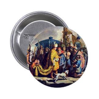 David con la cabeza de Goliat antes de Saul. Pins