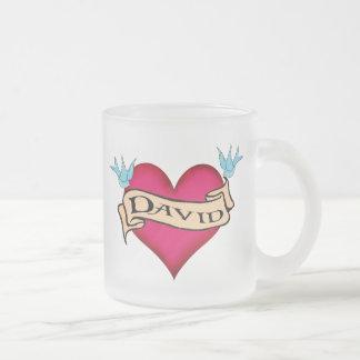 David - Custom Heart Tattoo T-shirts & Gifts 10 Oz Frosted Glass Coffee Mug
